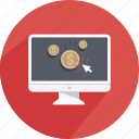 click, coin, content, money, monitor, shopping, web icon