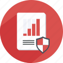 analytics, chart, guaranteed, meeting, safe, shield, statistics icon