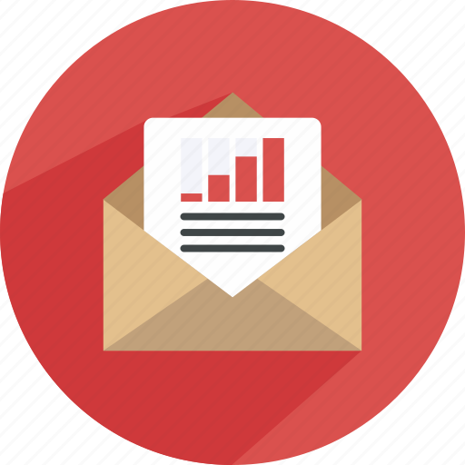 email, envelope, mail, note, paper, send, statistics icon