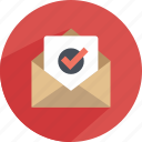approved, email, envelope, mail, note, paper, statistics icon