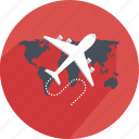 airplane, delivery, express, map, plane, shipping, tour icon