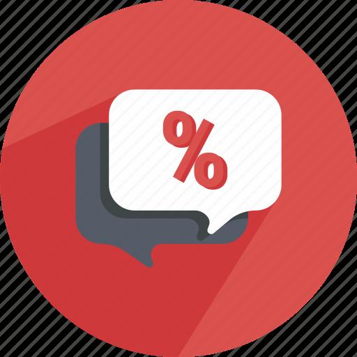 bubble, chat, conversation, dialog, discount, speech, speechbubble icon