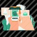 hand, shop, smartphone