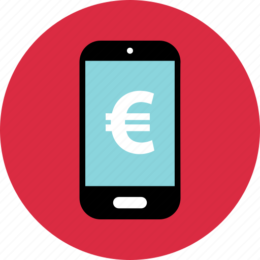device, euro, mobile, online, pay, sign icon