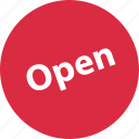 business, open, sign, tag icon