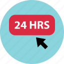 cilck, hours, open, twentyfour icon