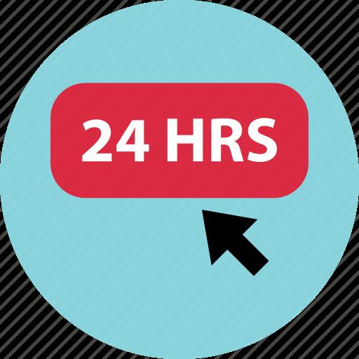 cilck, hours, open, twentyfour icon