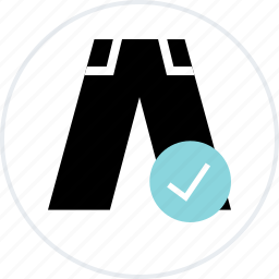 check, clothing, jeans, mark, merchandise, pants icon