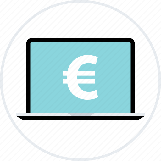 euro, fund, funds, laptop, money, pay, sign icon