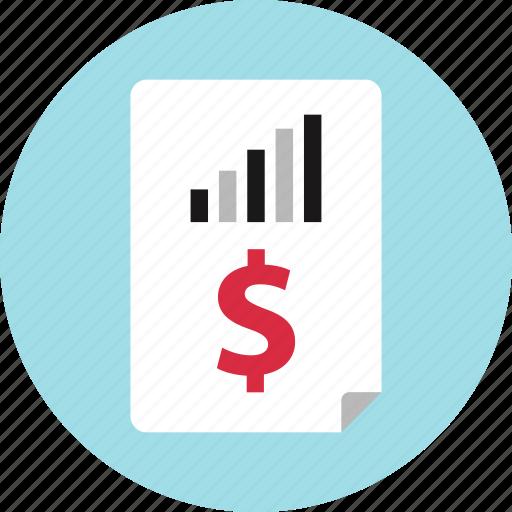 analytics, data, dollar, report, sign icon