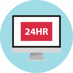 four, hours, online, open, twenty icon