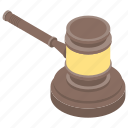auction hammer, gravel, justice hammer, law, mallet icon