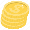 asset, dollar coins, dollar stack, gold coins, money icon