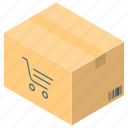 cardboard, delivery box, online shopping, package, parcel, shopping delivery icon