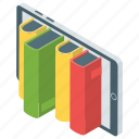 digital library, ebooks, mobile shopping, online books, online shopping icon