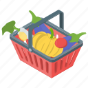 cart, grocery basket, grocery bucket, shopping, vegetable bucket