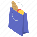 bag, grocery, grocery bag, hand carry, shopping bag icon
