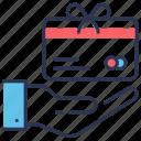 card, gift, hand, loyalty, present, program, vip icon