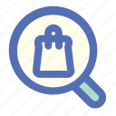 bag, ecommerce, glasses, magnifying, online, search, shop icon