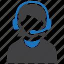 call, center, consultant, female, support icon