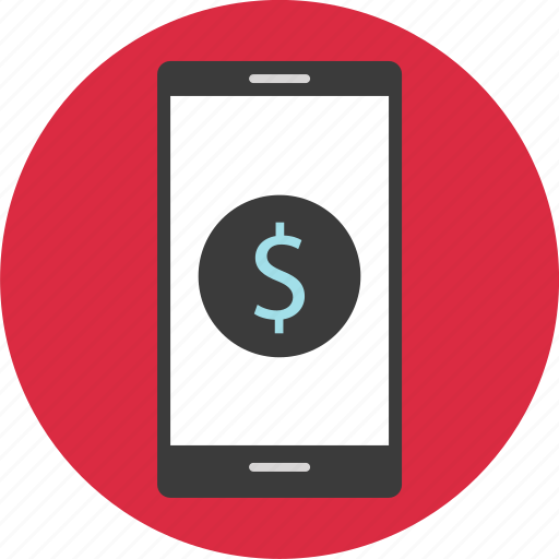 dollar, mobile, online, shopping, sign icon