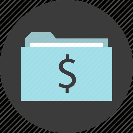 archive, dollar, folder, money, sign icon