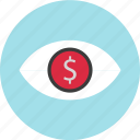 dollar, eye, find, look, online icon