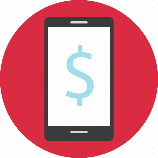 dollar, mobile, online, sign icon