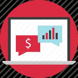 chat, laptop, money, online, shop icon