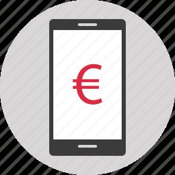 dollar, euro, mobile, money, online, shopping, sign icon
