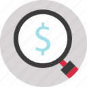 dollar, magnifier, online, search, shopping icon
