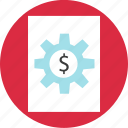 gear, money, online, page, web icon