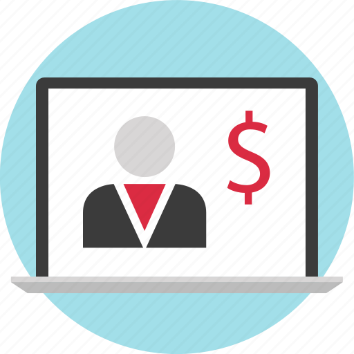 laptop, money, online, person icon