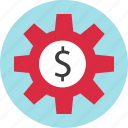 dollar, gear, money, sign, work icon