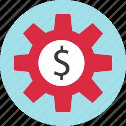 dollar, gear, money, sign, work icon