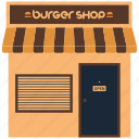burger shop, food booth, kiosk, shop, street food icon