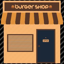burger shop, food booth, kiosk, shop, street food icon