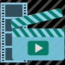 cinema, clapper, film, media, movie, video
