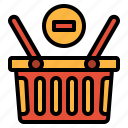basket, commerce, remove, shopping, supermarket icon