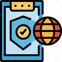 internet, protection, shield, warranty, worldwide icon