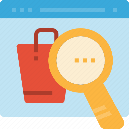 analytics, engine, glass, magnifying, page, search, shopping icon