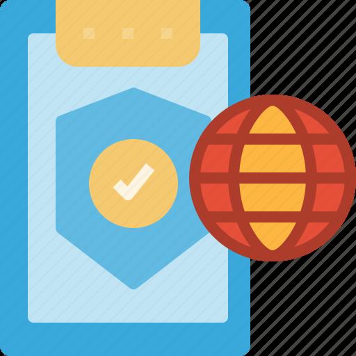 internet, protection, shield, warranty, worldwide icon