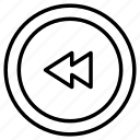 backward, button, control, arrow