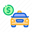 money, online, payment, taxi icon