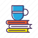 book, cup, learn, study icon
