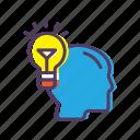 bulb, head, idea, light icon