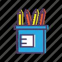drawing, pencils, school icon