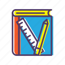 book, material, pencil, ruler, teaching