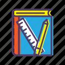 book, material, pencil, ruler, teaching icon