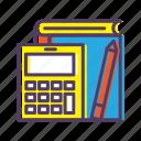 book, calculator, learn, pencil, study, tools icon